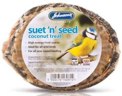 Johnsons Wild Bird Suet & Seed Coconut Shell