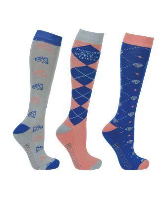 Hy Equestrian Diamond Socks (Pack of 3)