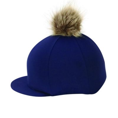Hy Equestrian Hat Cover with Faux Fur Pom Pom