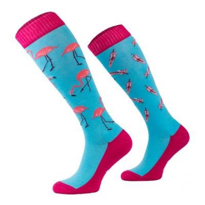 Novelty Adult Blue Flamingo Socks