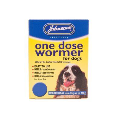 Johnsons 1 Dose Dog Wormer Size 2