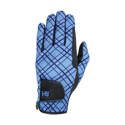 Hy5 Lightweight Printed Riding Gloves Blue Check