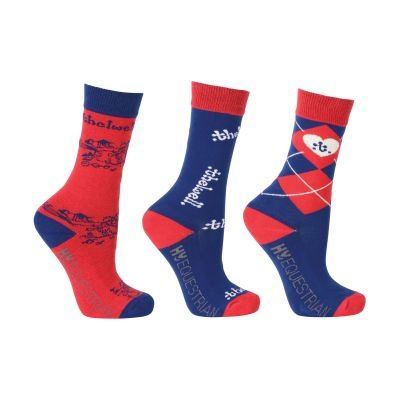 Hy Equestrian Thelwell Collection Childrens Socks 3 pack