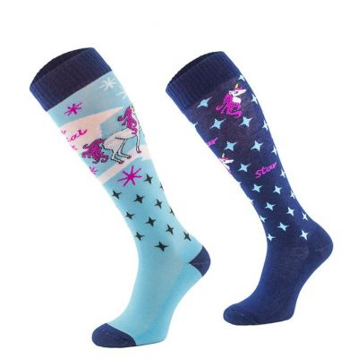 Novelty Adult Blue Unicorn Socks