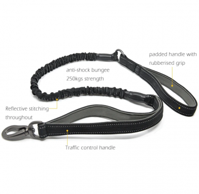 Anti Shock Bungee Lead  with Traffic Grip 115cm