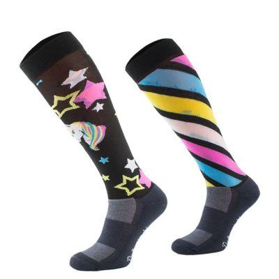 Novelty Adult Black Unicorn Socks