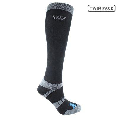 Woofwear Long Bamboo Waffle Riding Socks Black